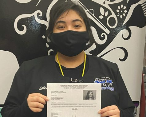 CTE student certified in Cosmetology